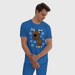 Пижама хлопковая мужская Олень в снегу цвета синий — фото 2