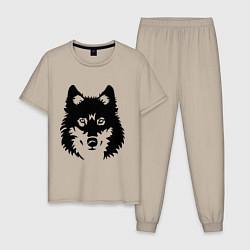 Пижама хлопковая мужская Одинокий волк цвета миндальный — фото 1