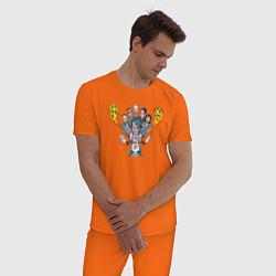 Пижама хлопковая мужская Rammstein Group цвета оранжевый — фото 2