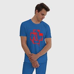 Пижама хлопковая мужская Rammstein Logo цвета синий — фото 2
