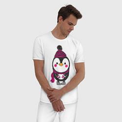 Пижама хлопковая мужская Пингвин в валенках цвета белый — фото 2