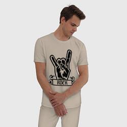 Пижама хлопковая мужская Rock Addicted цвета миндальный — фото 2