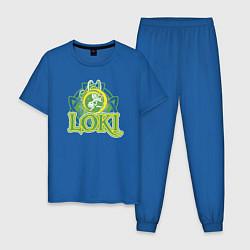 Пижама хлопковая мужская Loki Magic цвета синий — фото 1