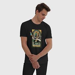 Пижама хлопковая мужская Loki Art nouveau цвета черный — фото 2