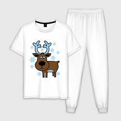 Пижама хлопковая мужская Олень и снежинки цвета белый — фото 1