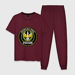 Пижама хлопковая мужская ПВО цвета меланж-бордовый — фото 1