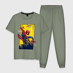 Пижама хлопковая мужская Comics Spider-Man цвета авокадо — фото 1