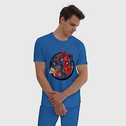 Пижама хлопковая мужская Flying Spider-man цвета синий — фото 2