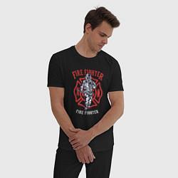 Пижама хлопковая мужская Fire fighter цвета черный — фото 2
