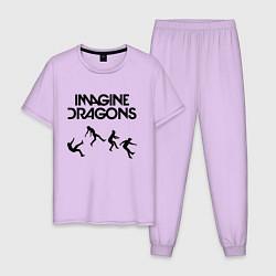 Пижама хлопковая мужская IMAGINE DRAGONS цвета лаванда — фото 1