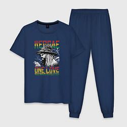 Пижама хлопковая мужская Регги цвета тёмно-синий — фото 1