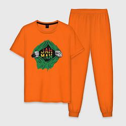 Пижама хлопковая мужская Регги цвета оранжевый — фото 1