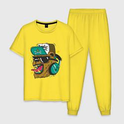 Пижама хлопковая мужская Boom, Boom Bear цвета желтый — фото 1