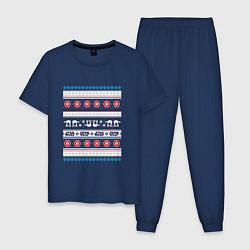 Пижама хлопковая мужская Звездные войны вязка цвета тёмно-синий — фото 1