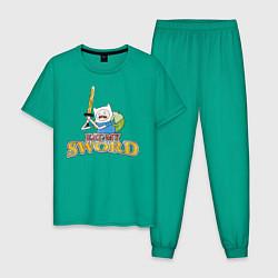 Пижама хлопковая мужская Eat my sword цвета зеленый — фото 1