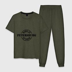 Пижама хлопковая мужская Made in Petersburg цвета меланж-хаки — фото 1