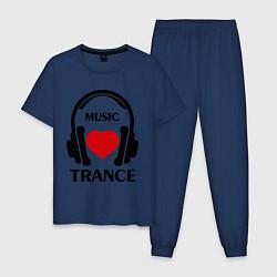 Пижама хлопковая мужская Trance Music is Love цвета тёмно-синий — фото 1