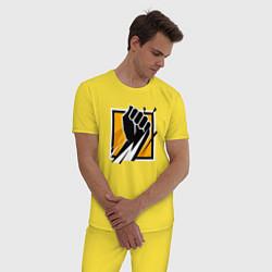 Пижама хлопковая мужская R6S FINKA цвета желтый — фото 2
