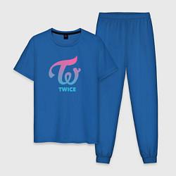 Пижама хлопковая мужская Twice цвета синий — фото 1