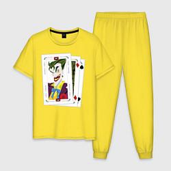 Пижама хлопковая мужская Joker Cards цвета желтый — фото 1