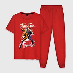 Пижама хлопковая мужская Two-Face Trouble - Двуликая беда - Харви Дент цвета красный — фото 1
