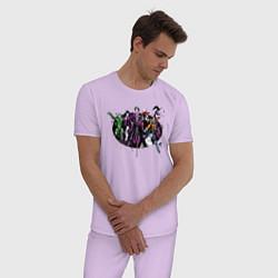 Пижама хлопковая мужская Loveable Rogues цвета лаванда — фото 2