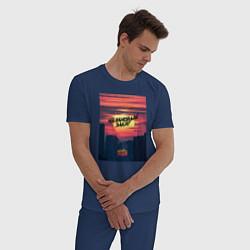 Пижама хлопковая мужская Малиновый закат цвета тёмно-синий — фото 2