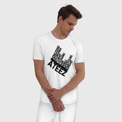 Пижама хлопковая мужская Ateez цвета белый — фото 2