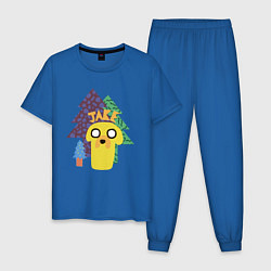 Пижама хлопковая мужская Время приключений Jake цвета синий — фото 1