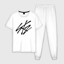 Пижама хлопковая мужская Stray Kids цвета белый — фото 1