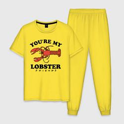 Пижама хлопковая мужская Youre my Lobster цвета желтый — фото 1