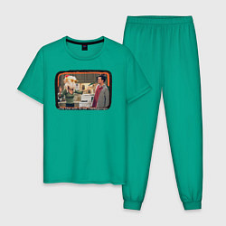 Пижама хлопковая мужская Thanksgiving Day цвета зеленый — фото 1