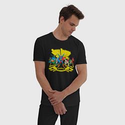 Пижама хлопковая мужская Super Friends, Justice League цвета черный — фото 2