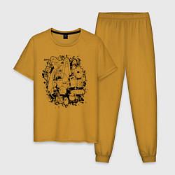 Пижама хлопковая мужская Adventure Time цвета горчичный — фото 1