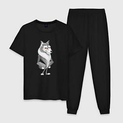 Пижама хлопковая мужская Волк цвета черный — фото 1