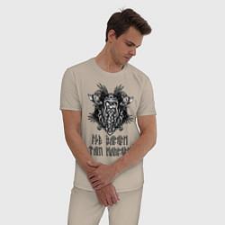 Пижама хлопковая мужская Где Варяги - там напряги! цвета миндальный — фото 2