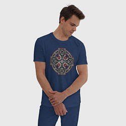 Пижама хлопковая мужская Кельтский крест цвета тёмно-синий — фото 2