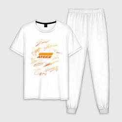 Пижама хлопковая мужская ATEEZ АВТОГРАФЫ цвета белый — фото 1