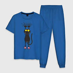 Пижама хлопковая мужская Висящий кот цвета синий — фото 1