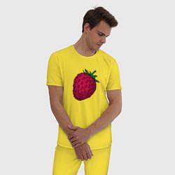 Пижама хлопковая мужская Клубника цвета желтый — фото 2