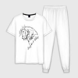 Пижама хлопковая мужская Horse цвета белый — фото 1