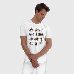 Пижама хлопковая мужская Конный виды спорта цвета белый — фото 2