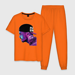 Пижама хлопковая мужская ATL цвета оранжевый — фото 1