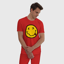 Пижама хлопковая мужская NIRVANA цвета красный — фото 2