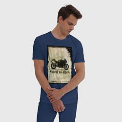 Пижама хлопковая мужская Born to Ride цвета тёмно-синий — фото 2