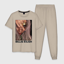Пижама хлопковая мужская BILLIE EILISH цвета миндальный — фото 1