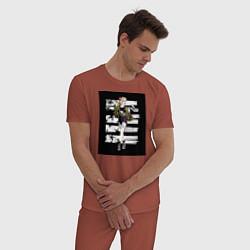 Пижама хлопковая мужская Харли Квин цвета кирпичный — фото 2