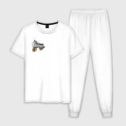 Пижама хлопковая мужская Birds of Prey цвета белый — фото 1