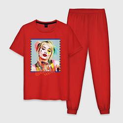 Пижама хлопковая мужская Harley Quinn XX цвета красный — фото 1