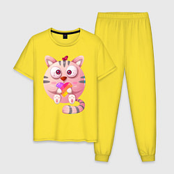Пижама хлопковая мужская Котик Likee цвета желтый — фото 1